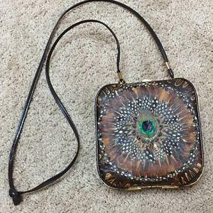 Vintage peacock feather purse shoulder bag